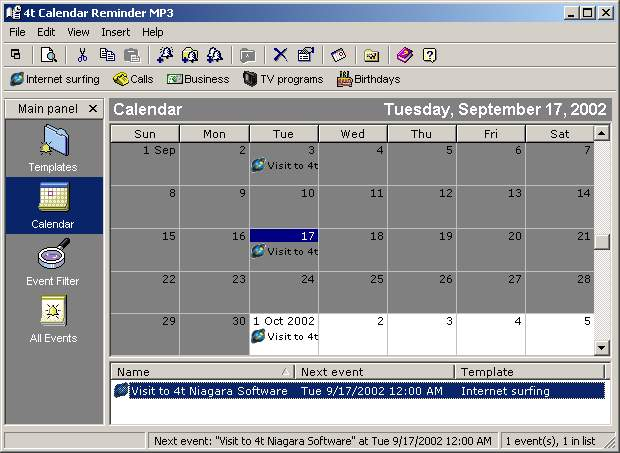 4t Calendar Reminder MP3 - Organize events in a MS Outlook-like calendar